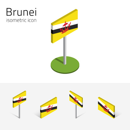 Bruneian flag (Brunei Darussalam), vector set of isometric flat icons, 3D style, different views. Editable design elements for banner, website, presentation, infographic, poster, map, collage. Eps 10 Illustration