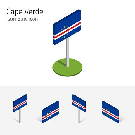 praia: Cape Verde flag (Republic of Cabo Verde), vector set of isometric flat icons, 3D style, different views. 100% editable design elements for banner, website, presentation, infographic, map, card. Eps 10