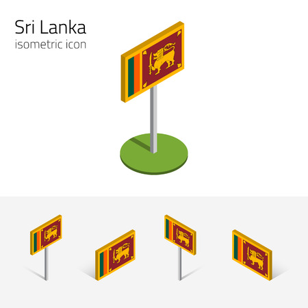 Sri Lankan flag (Democratic Socialist Republic of Sri Lanka), vector set of isometric flat icons, 3D style. Editable design elements for banner, website, presentation, infographic, map. Eps 10