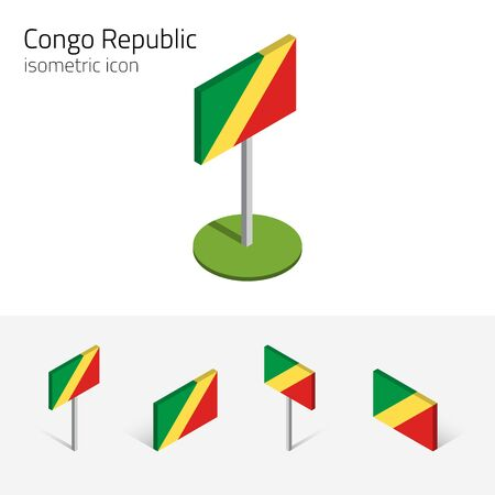 Congolese flag (Republic of the Congo), vector set of isometric flat icons, 3D style. African country flags. Editable design elements for banner, website, presentation, infographic, card, map. Eps 10