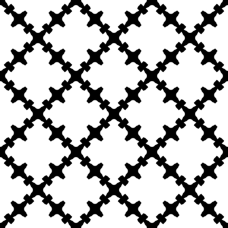quivering: Simple illustration of a flat icon of a black & white texture with curved geometric shapes, barbed figures. Repeat tiles. Endless ornamental background, gothic style. Design for decor, textile