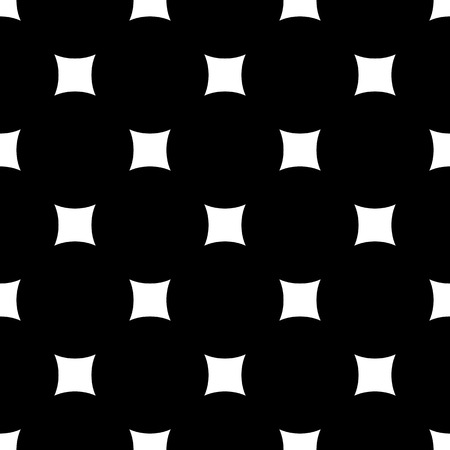 Simple dark minimalist geometric texture with rounded squares & rhombuses. Abstract endless black & white background. Stylish design for printing, stamping, decor