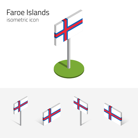 Faroe Islands flag (Kingdom of Denmark), vector set of isometric flat icons, 3D style, different views. Editable design elements for banner, website, presentation, infographic, poster, map. Eps 10 Illustration