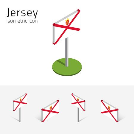 manche: Flag of Jersey (United Kingdom), vector set of isometric flat icons, 3D style, different views. Editable design elements for banner, website, presentation, infographic, poster, map, collage. Eps 10 Illustration