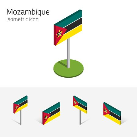 english culture: Mozambican flag (Republic of Mozambique), vector set of isometric flat icons, 3D style. African country flags. Editable design elements for banner, website, presentation, infographic, map. Eps 10