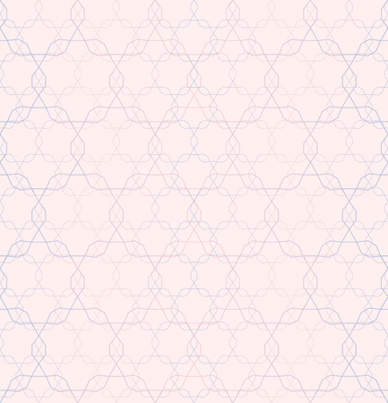 entwined: A Vector seamless pattern, repeating geometric tiles, ornamental tracery background in trendy colors: rose quartz, serenity, soft pink. Modern abstract texture, design for tileable print, digital, web Illustration