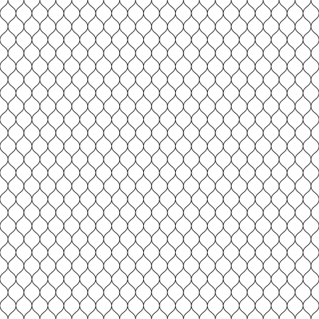mesh: A Vector seamless pattern, black thin wavy lines on white backdrop. Illustration of mesh, fishnet, lace.