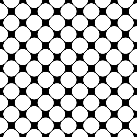 A Vector seamless pattern, geometric texture with circles, perforated surface. Monochrome illustration of mesh, lattice.