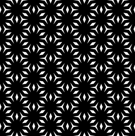 figura: Vector seamless pattern, abstract monochrome geometric texture, black & white ornament, repeat background in oriental style. Angled figures, rhombuses, triangles. Simple symmetric mosaic design