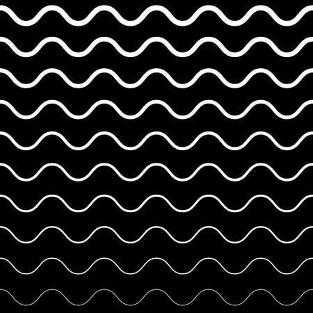 Vector seamless pattern, horizontal wavy lines. Monochrome background with halftone transition effect. Simple black & white repeat texture. Design element for prints, textile, fabric, digital, web