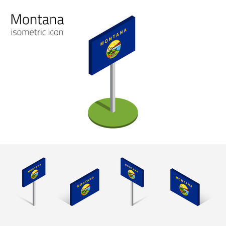 english culture: Flag of Montana (State of Montana, USA), vector set of isometric flat icons, 3D style, different views. Editable design element for banner, website, presentation, infographic, poster, map. Eps 10 Illustration