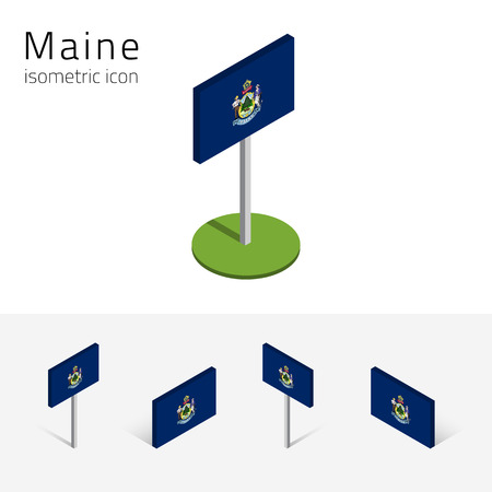 french culture: Flag of Maine (State of Maine, USA), vector set of isometric flat icons, 3D style, different views. Editable design element for banner, website, presentation, infographic, poster, map, collage. Eps 10 Illustration