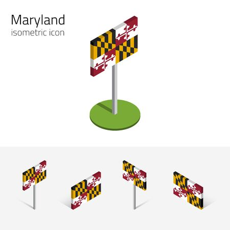 Flag of Maryland (State of Maryland, USA), vector set of isometric flat icons, 3D style, different views. Editable design element for banner, website, presentation, infographic, map, collage. Eps 10 Illustration