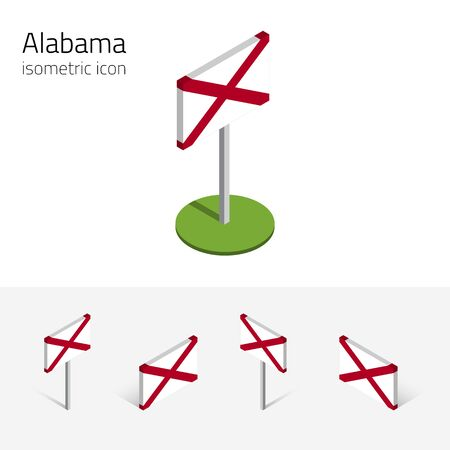 Flag of Alabama (State of Alabama, USA), vector set of isometric flat icons, 3D style, different views. Editable design element for banner, website, presentation, infographic, poster, map. Eps 10
