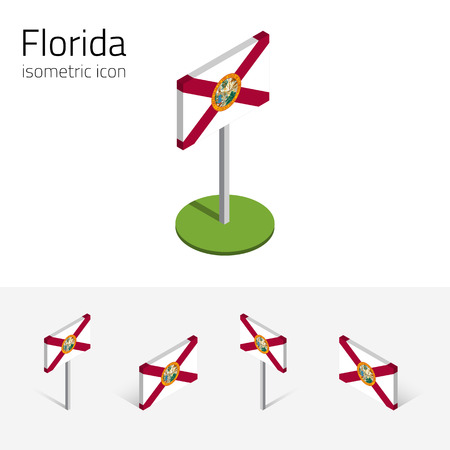 Tallahassee: Flag of Florida (State of Florida, USA), vector set of isometric flat icons, 3D style, different views. Editable design element for banner, website, presentation, infographic, poster, map. Eps 10