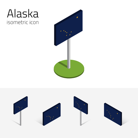 polaris: Flag of Alaska (State of Alaska, USA), vector set of isometric flat icons, 3D style, different views. Editable design element for banner, website, presentation, infographic, poster, map, card. Eps 10
