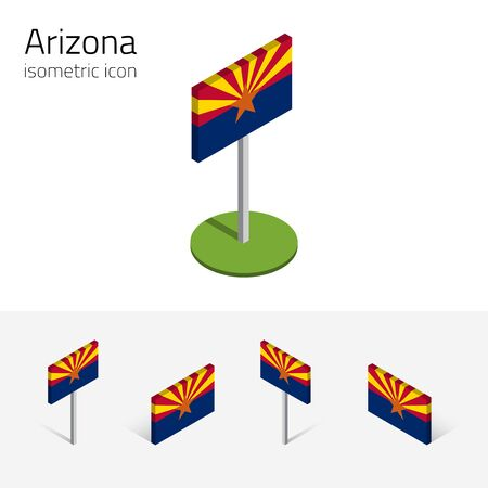Flag of Arizona (State of Arizona, USA), vector set of isometric flat icons, 3D style, different views. Editable design element for banner, website, presentation, infographic, poster, map. Eps 10