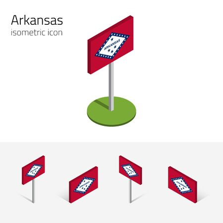Flag of Arkansas (State of Arkansas, USA), vector set of isometric flat icons, 3D style, different views. Editable design element for banner, website, presentation, infographic, poster, map. Eps 10 Illustration