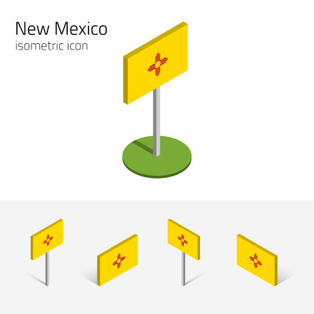 english culture: Flag of New Mexico (State of New Mexico, USA), vector set of isometric flat icons, 3D style, different views. Editable design element for banner, website, presentation, infographic, card, map. Eps 10