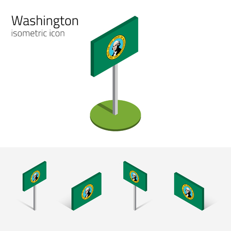 pacific northwest: Flag of Washington (State of Washington, USA), vector set of isometric flat icons, 3D style, different views. Editable design element for banner, website, presentation, infographic, card, map. Eps 10