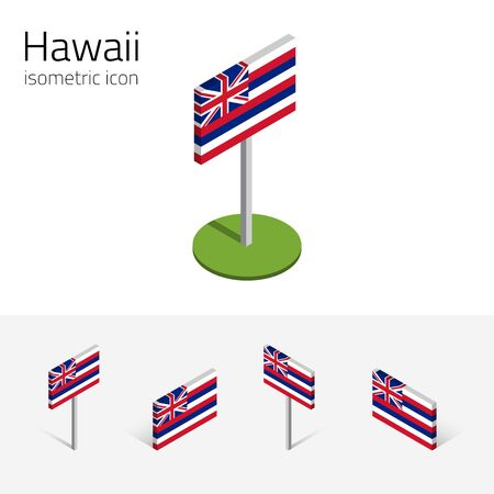 english culture: Flag of Hawaii (State of Hawaii, USA), vector set of isometric flat icons, 3D style, different views. Editable design element for banner, website, presentation, infographic, map, collage, card. Eps 10 Illustration