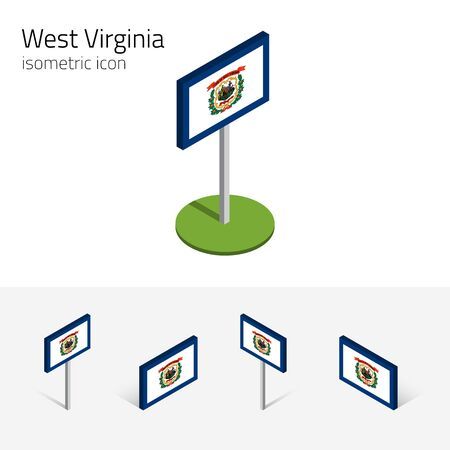 3d virginia: Flag of West Virginia (State of West Virginia, USA), vector set of isometric flat icons, 3D style, different views. Editable design element for banner, website, presentation, infographic, map. Eps 10 Illustration