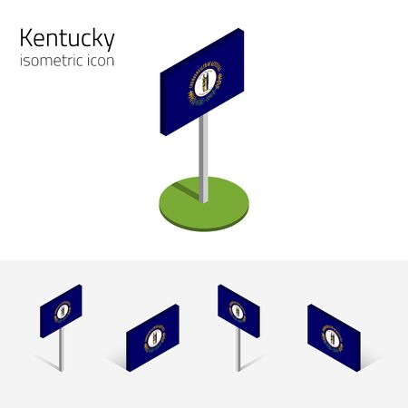 english culture: Flag of Kentucky (Commonwealth of Kentucky, USA state), vector set of isometric flat icons, 3D style, different views. Editable design element for banner, website, infographic, poster, map. Eps 10