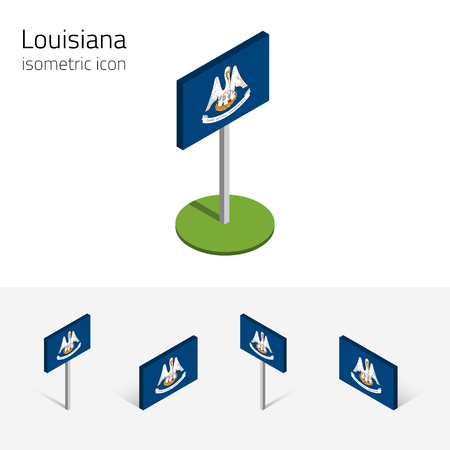 english culture: Flag of Louisiana (State of Louisiana, USA), vector set of isometric flat icons, 3D style, different views. Editable design element for banner, website, presentation, infographic, poster, map. Eps 10