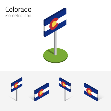 Flag of Colorado (State of Colorado, USA), vector set of isometric flat icons, 3D style, different views. Editable design element for banner, website, presentation, infographic, poster, map. Eps 10 Illustration