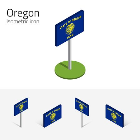 pacific northwest: Flag of Oregon (State of Oregon, USA), vector set of isometric flat icons, 3D style, different views. Editable design element for banner, website, presentation, infographic, poster, map, card. Eps 10 Illustration