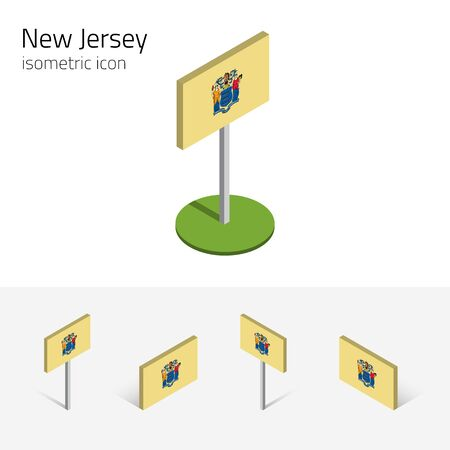 english culture: Flag of New Jersey (State of New Jersey, USA), vector set of isometric flat icons, 3D style, different views. Editable design element for banner, website, presentation, infographic, map, card. Eps 10