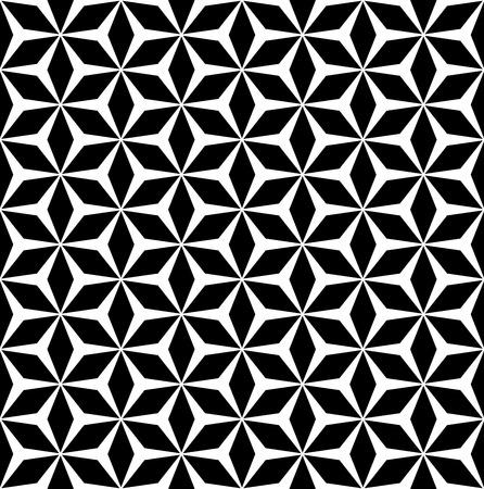 벡터 monocolor 원활한 패턴, 간단한 반복 형상 질감, 다각형 꽃 장식, 흑백 모자이크 배경. 지문, 인테리어, 디지털, 커버, 섬유, 가구 디자인 요소