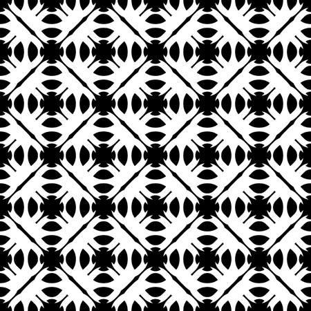 specular: Vector seamless pattern. Abstract monochrome geometric texture. Simple black & white ornamental background with rounded figures. Repeat tiles. Design for decoration, textile, prints, fabric, furniture