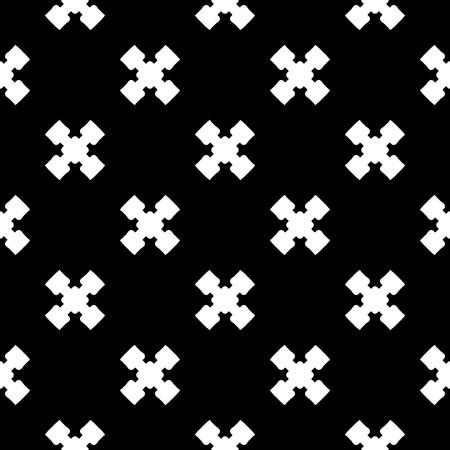 criss: Vector monochrome minimalist texture, simple geometric pattern. White staggered crosses on black background. Stylish repeat dark backdrop. Design element for decoration, tileable print, textile, cover