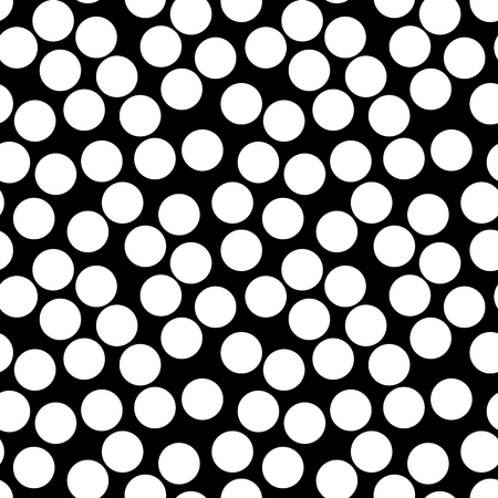 bacteria cell: Vector monochrome seamless pattern, simple texture with white chaotic dots on black backdrop. Illustration