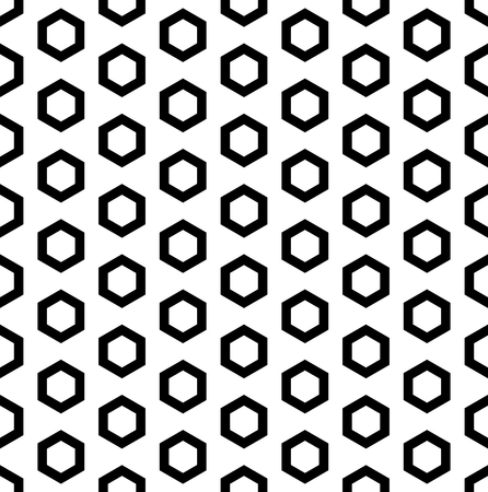 Vector monochrome seamless pattern, black outline hexagons on white background. Simple geometric texture for tileable print, stamping, decoration, digital, web, wallpaper, cover, textile, identity