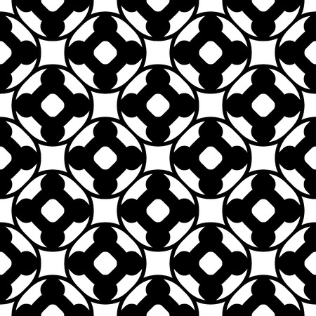 perforation texture: Vector monochrome seamless pattern. Abstract black & white geometric texture, simple floral figures, rounded lattice, repeat tiles. Endless ornamental background, design for decor, print, textile, web Illustration