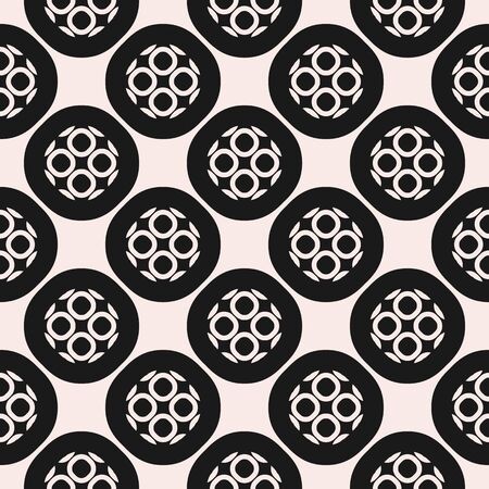 antique furniture: Monochrome ornamental seamless pattern. Vector abstract geometric texture, rounded grid, outline circular shapes. Delicate mosaic background, repeat tiles. Design for decor, prints, fabric, covers Illustration