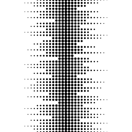 Vector monochrome seamless pattern. Dynamic visual effect, background with different sized dots. Black & white. Illustration of sound waves. Geometric texture for prints, digital, cover, decor, web Illusztráció