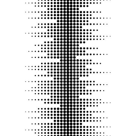 Wektorowy monochromatyczny bezszwowy wzór. Dynamiczny efekt wizualny, tło o różnych rozmiarach kropek. Czarny biały. Ilustracja fal dźwiękowych. Geometryczna tekstura dla druków, cyfrowy, pokrywa, wystrój, sieć
