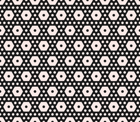 Vector monochrome texture, geometric seamless pattern with different sized hexagons, perforated shapes, honeycombs, hexagonal grid. Stylish abstract background. Design for home decor, textile, fabric Ilustração Vetorial