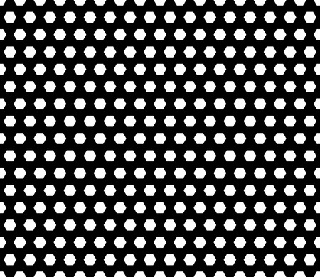 Vector seamless pattern, white hexagons on black background. Regular grid, illustration of perforated surface, football ball, honeycomb. 일러스트