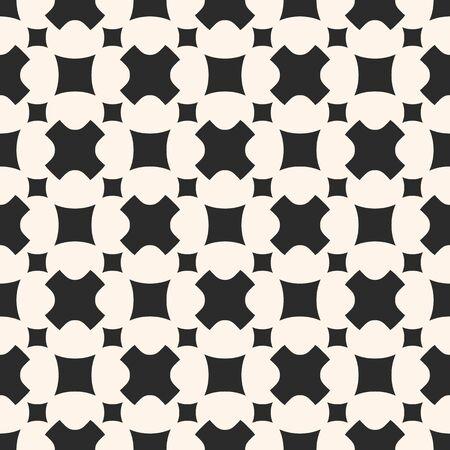 Vector zwart-wit naadloze patroon. Stijlvolle geometrische textuur met eenvoudige afgeronde figuren, zachte kruisen, vierkanten. Abstracte minimalistische achtergrond. Modern ontwerp voor prints, decor, textiel, stof, web