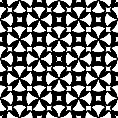 antique furniture: Vector seamless pattern, abstract repeat ornamental background. Simple black & white geometric figures, rounded crosses, squares. Endless monochrome texture. Design for prints, decor, textile, fabric