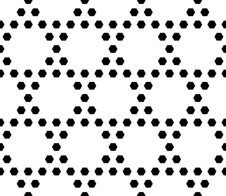 meshy: Vector monochrome seamless pattern. Simple geometric texture with small hexagons. Black and white illustration, hexagonal grid. Repeat abstract geometrical background. Design for textile, decor, print Illustration