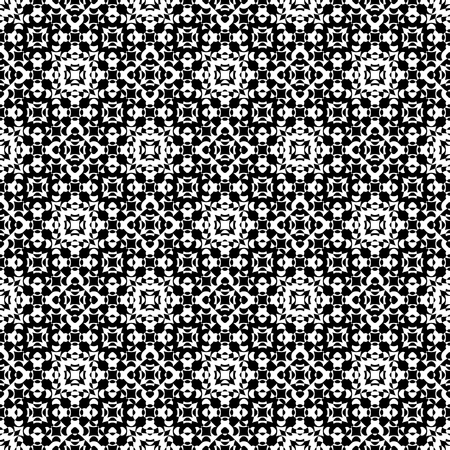 specular: Vector seamless pattern. Abstract ornamental black & white texture, repeat geometric tiles. Endless specular monochrome background. Design element for prints, decoration, digital, web, textile, cover