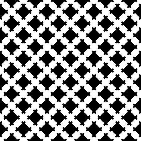 モノクロのテクスチャー、幾何学的なブラック ・ ホワイトのシームレスなパターン、斜め格子のシンプル正方形の背景をベクトルします。プリント  イラスト・ベクター素材