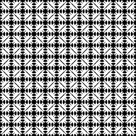 specular: Vector seamless pattern. Abstract monochrome geometric texture. Simple black & white ornamental background with rounded figures. Diagonal grid. Repeat tiles. Design for decor, textile, digital, web