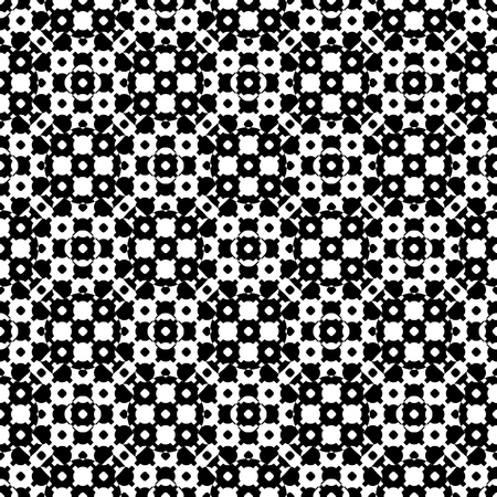 Vector monochrome seamless texture, black & white specular geometric pattern with simple rounded figures. Repeat tiles. Monocolor design element for printing, embossing, decor, textile, fabric, cloth