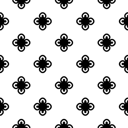 Vector monochrome seamless pattern, old vintage style. Simple floral geometric texture with black circular flowers on white background. Abstract repeat minimalist backdrop. Design for print, decor Vektoros illusztráció
